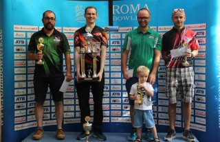 Die Sieger beim CUP der Roma Bowlers: (v.l.) Marcus Millonig (3.), Andric Cédric (3.), Michael Grabovac (1.) und Tom Freygang (2.)